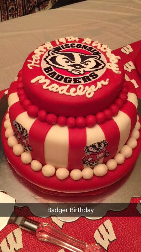 Groovy Maddies 19Th Birthday Bucky Wisconsin Badger Cake With Images Personalised Birthday Cards Cominlily Jamesorg