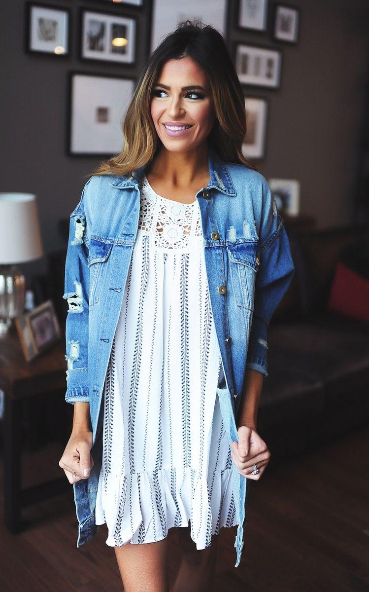 Distressed Denim Over-Sized Jacket - Dottie Couture Boutique