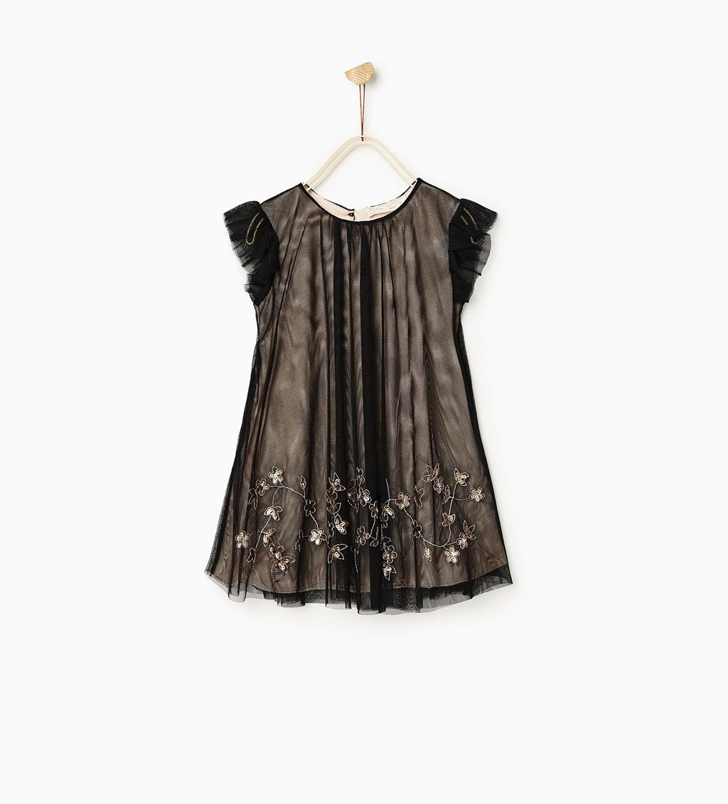SEQUIN HEM AND TULLE DRESS-DRESSES AND JUMPSUITS-GIRL | 4-14 years-KIDS | ZARA Serbia