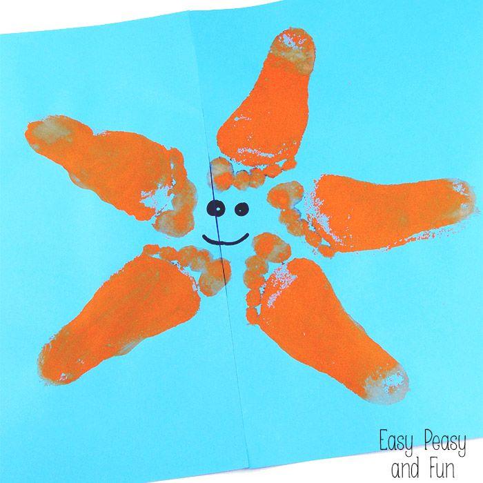 Starfish Footprint Art Footprint Art Preschool Crafts Toddler Art