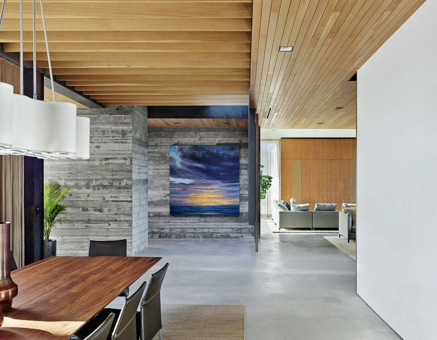 Board Form Concrete Walls Mix Well With Glass And Metal In Modern House Designs Such As This Pr A Frame House Plans Modern House Plans Traditional House Plans