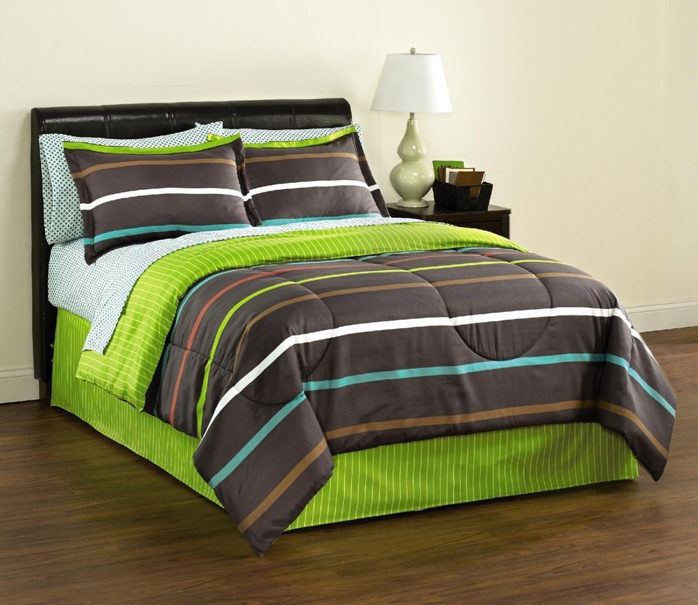 Essential Home Complete Bright Stripes Bedding Set - Assorted Sizes