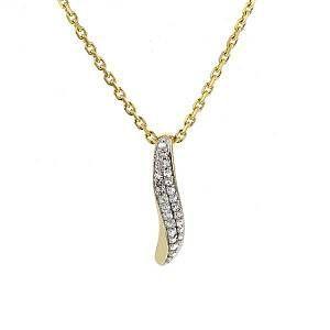 Pendentif pavé en vague diamants en or jaune