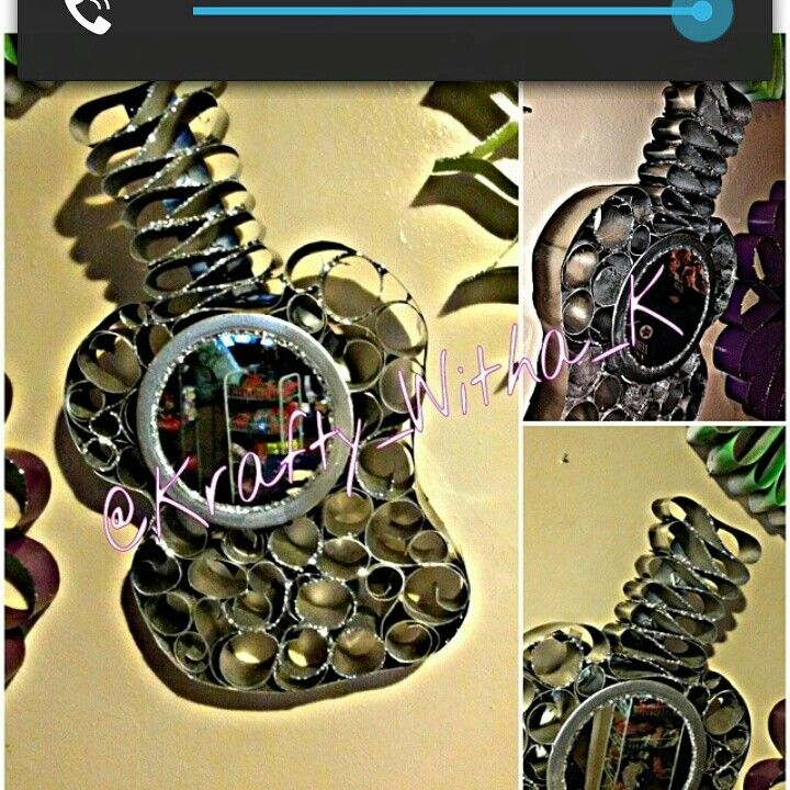Guitar Mirror  Made with all recycled materials #KRAFTYWITHAK