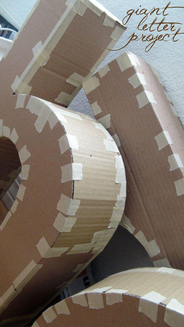giant cardboard letters in progress - to be used as home decor - http://goo.gl/r7dr1O