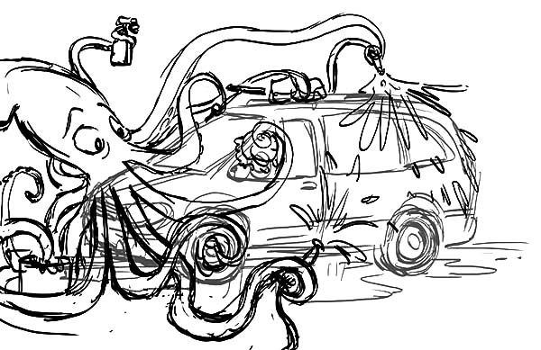 An Octopus Working At Car Wash Coloring Pages Best Place To Color Coloring Pages Car Wash Coloring Pages For Kids