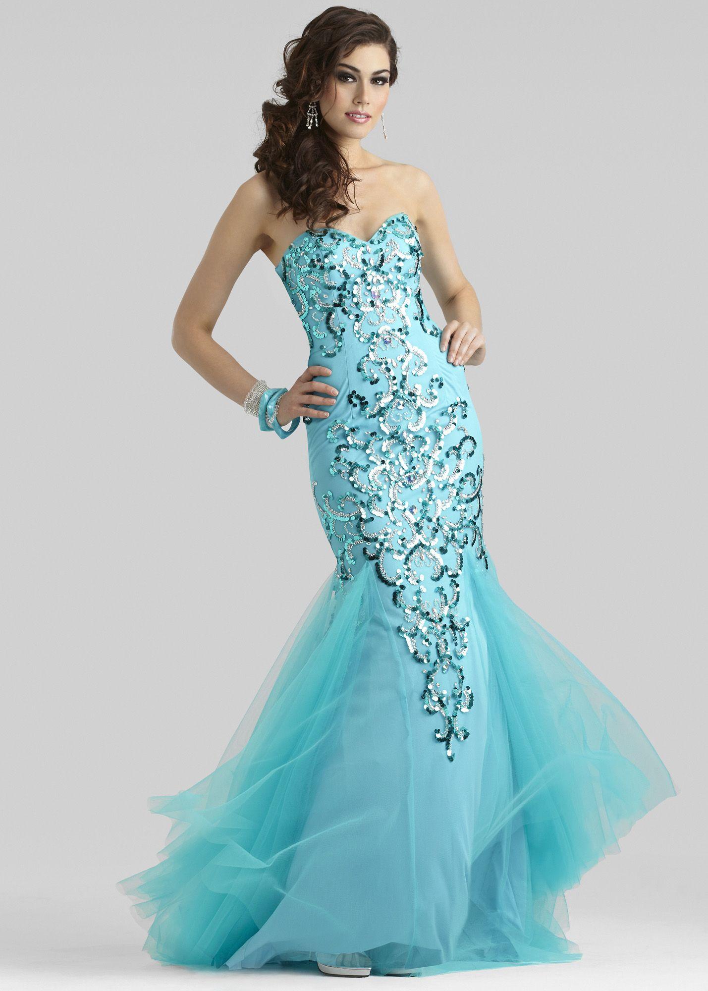 thepromdresses Clarisse 4313 - Caribbean Blue Sequin Mermaid Prom ...