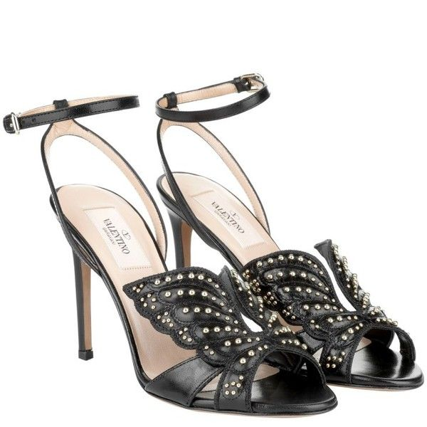 Valentino Sandals, Angelic Studded Leather Ankle Strap Sandal Black... (8 275 SEK) ❤ liked on Polyvore featuring shoes, sandals, black, leather sole shoes, black studded sandals, black leather shoes, stiletto sandals and leather sandals