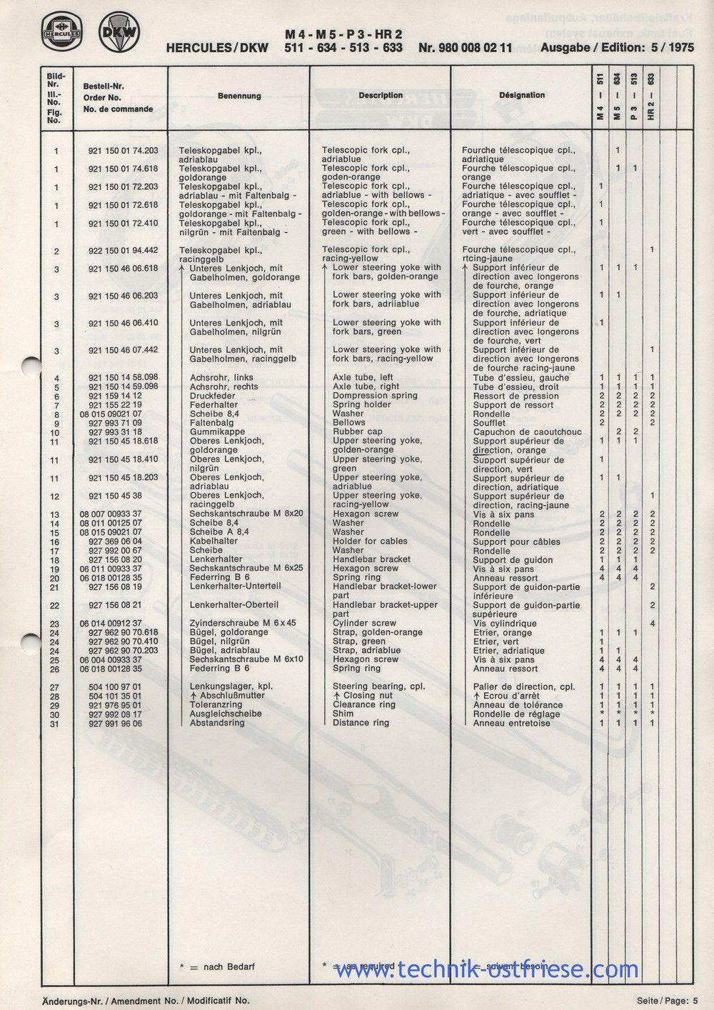 Hercules Dkw M4 511 M5 634 P3 513 Hr2 633 Ersatzteile Liste