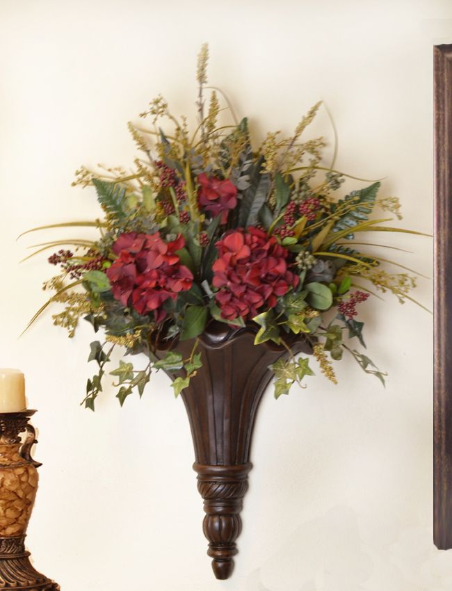 chocolate wall sconce with hydrangeas and greenery sc12 67 on wall sconces id=85804