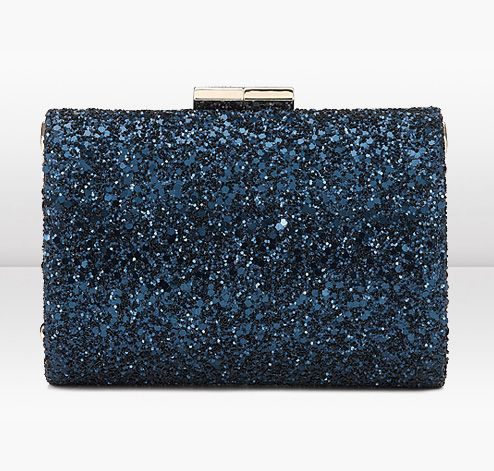feef9248fb Navy, Blue, Silver, White and Black. Jimmy Choo Mini Tube Navy Coarse  Glitter Fabric Clutch