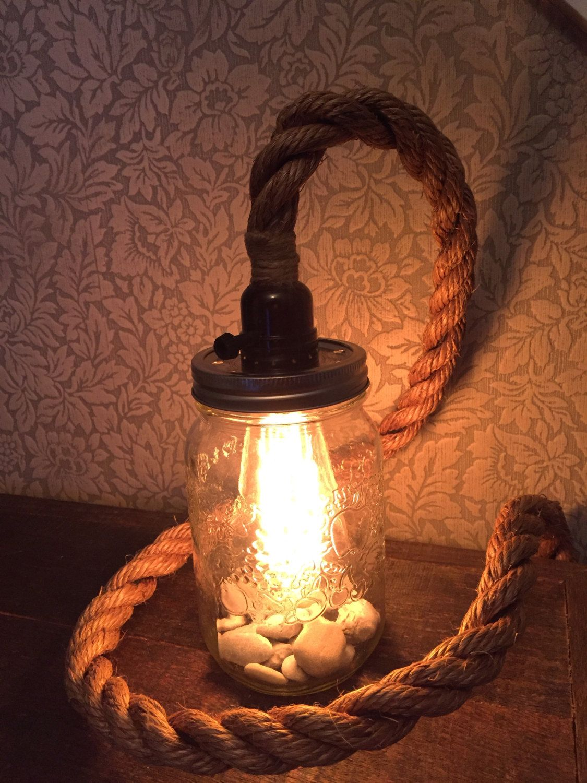 rope mason jar lights. Mason Jar Light With Rustic Rope Cord Lights