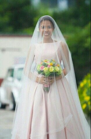 Pretty Bride Wearing Her Pink Bridal Ball Gown + Cathedral Length Drop Veil