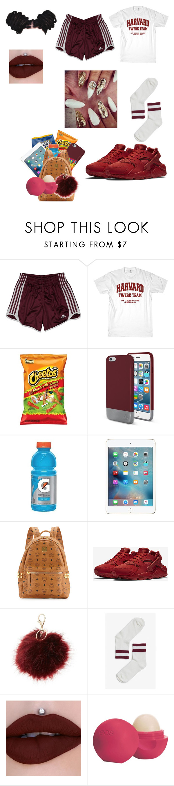 """""""Low key Lit👅"""" by dimples-dupree ❤ liked on Polyvore featuring adidas, Original Penguin, Hard Candy, MCM, NIKE, Charlotte Russe, Monki and Eos"""