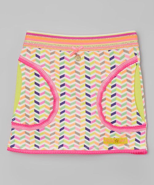 Look at this Kidz-Art Pink & Yellow Zigzag Stripe-Waist Skirt - Infant, Toddler & Girls on #zulily today!