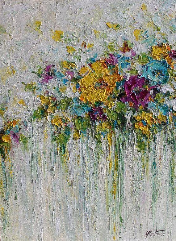 Acryl bloemen abstract schilderen met Paletmes op canvas gedaan.  Titel: Schoonheid van de zomer  GROOTTE: 18 x 24  MEDIUM: acryl. Beveiligd met een halfglanzende vernis.  DOEK: Uitgerekt doek met 0,75 dikte. De randen zijn geschilderd, zodat een frame optioneel is.  HANDTEKENING: Ondertekening op de voorkant.  BETALING: Pay Pal of een creditcard.  VERZENDING: Uw bestelling kan worden verzonden wereldwijd, 3-5 werkdagen na ontvangst van betaling. Voor de internationale scheepvaart, vraag u…
