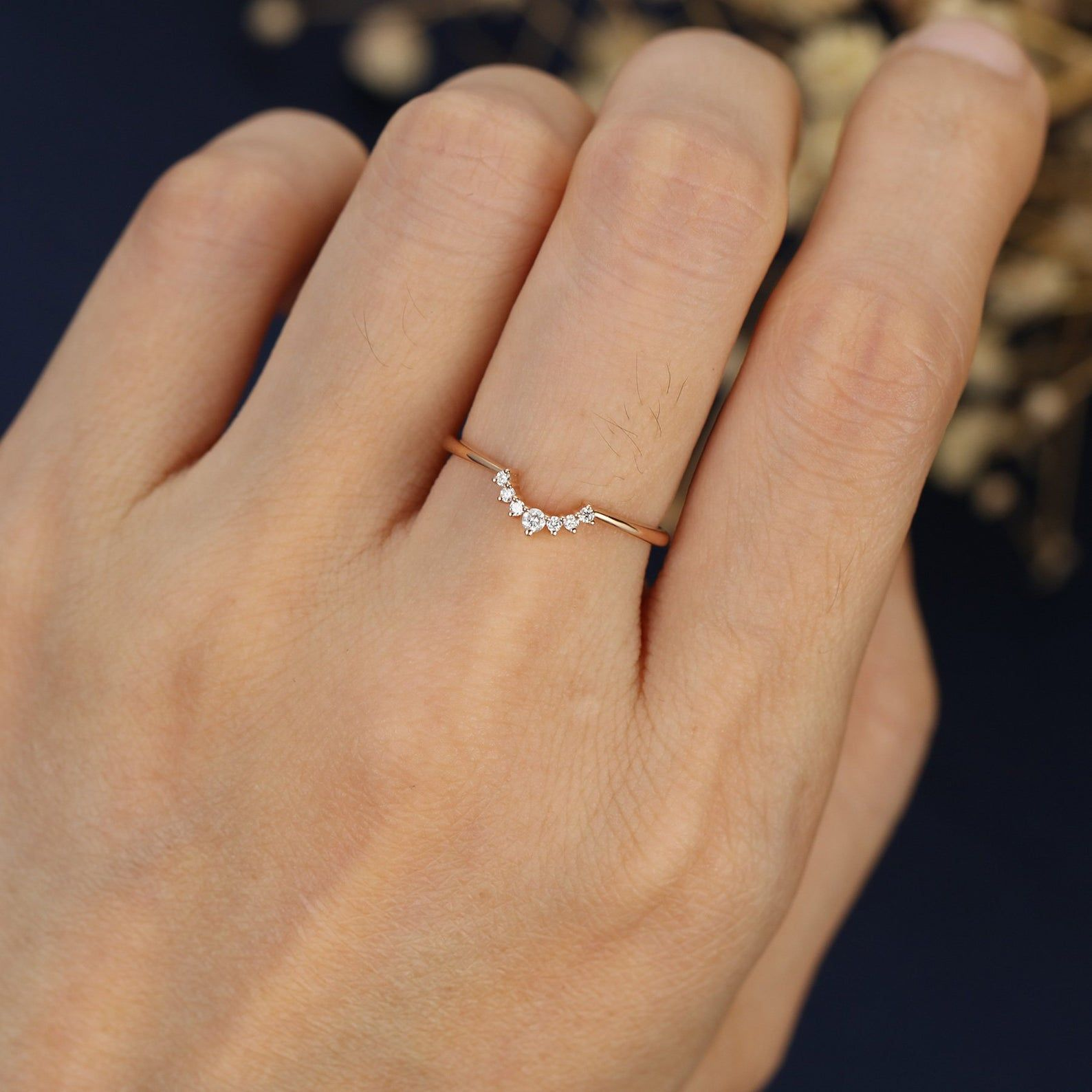 Curved wedding band rose gold unique simple diamond