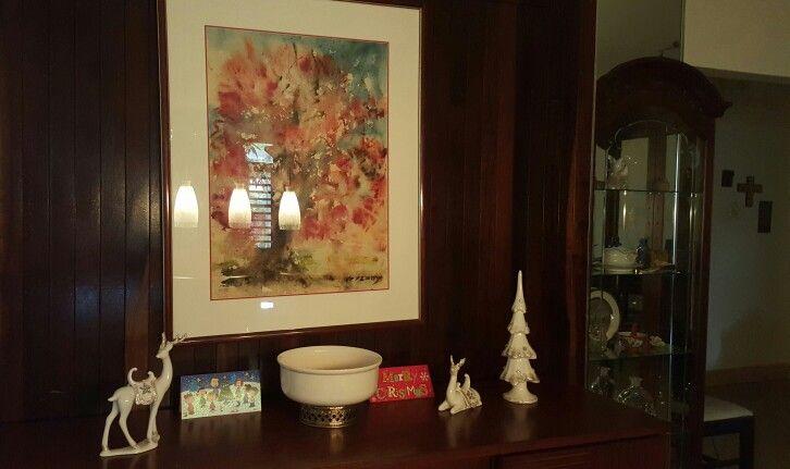 Buffet com enfeites natalinos