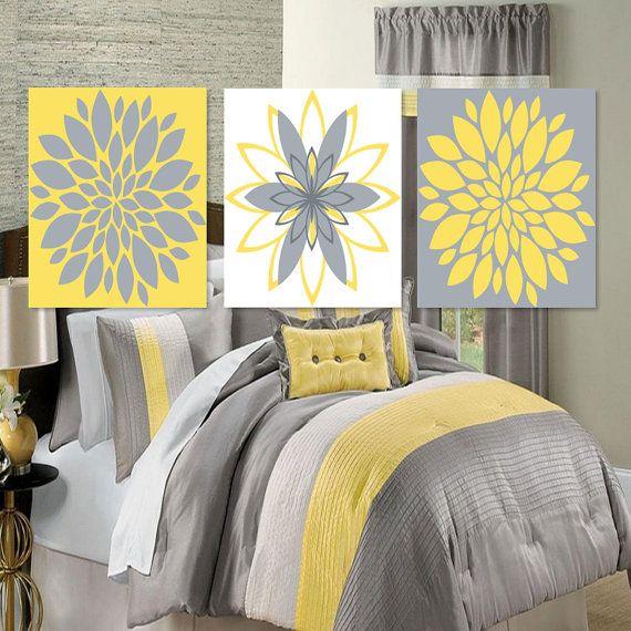 Wall Art Dahlia Flower Bloom Yellow Gray Grey Bedroom Decor Abstract ...