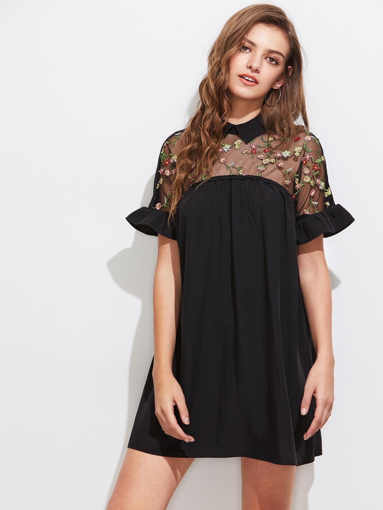 6c41fba3fc SheIn - SheIn Embroidered Sheer Mesh Insert Tie Back Dress - AdoreWe.com