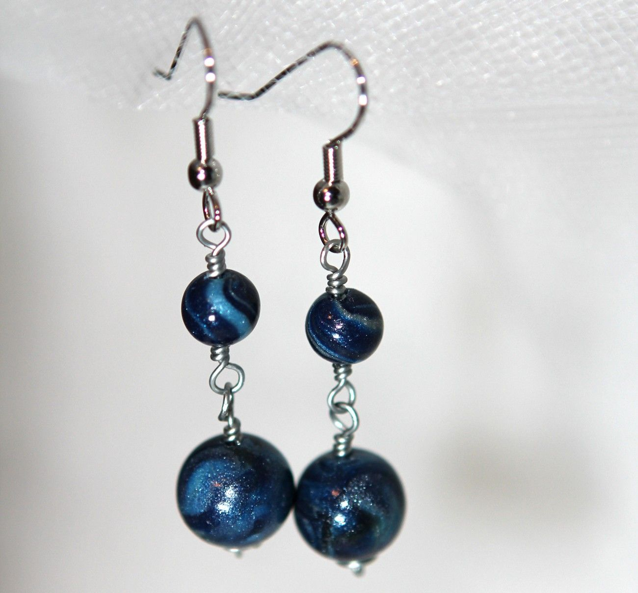 Blue Earrings - Wire wrapped Pearlescent - Wedding Bridal Bridesmaid Gifts. $25.00, via Etsy.
