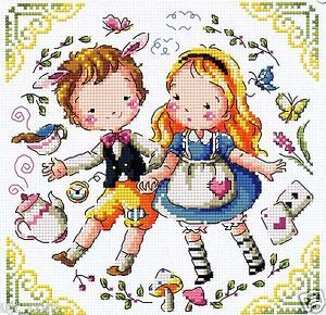 SODA Cross Stitch Pattern leaflet SO-3190 Alice and A Clock Rabbit authentic Korean cross stitch design chart color printed on coated paper