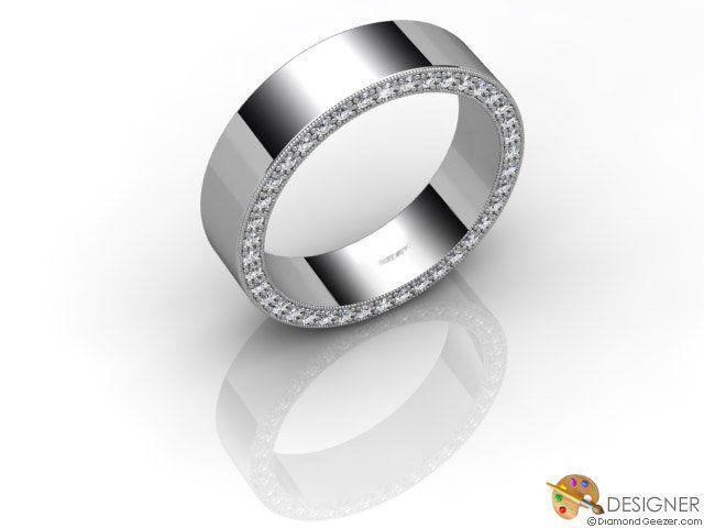 Gay Mens Wedding Ring Designer Diamond Flat Court Comfort Fit