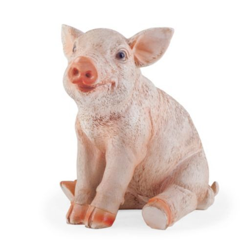 Poppy the realistic resin sitting pig garden ornament for Figurine decoration jardin