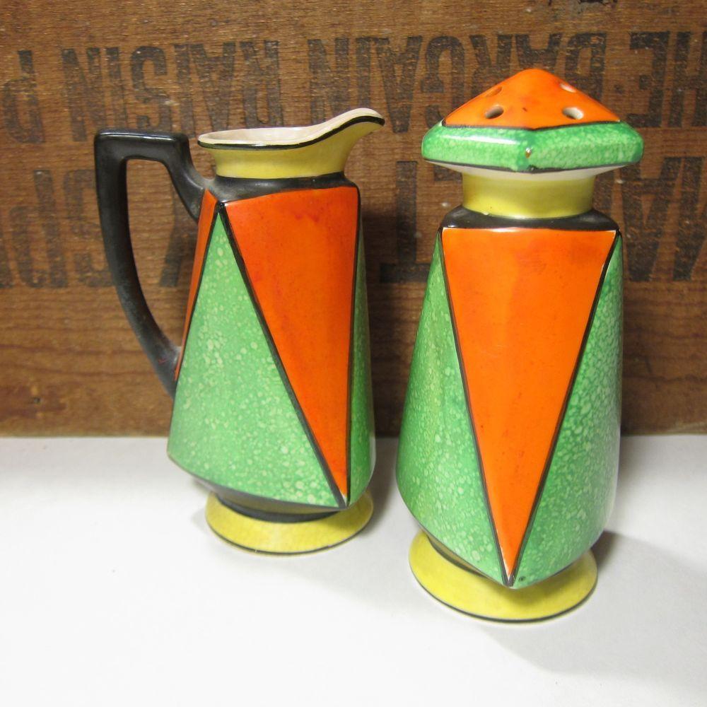 Vintage #Art #Deco #Muffineer and Pitcher Set Orange Black Green Hand Paint Japan  #unbranded