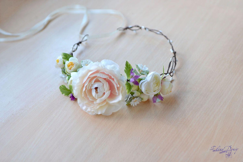 Wedding crown cream flowers Head wreath camellia crown bridal delicate hair dress rustic wedding  floral headband Boho bride crown by Vualia on Etsy