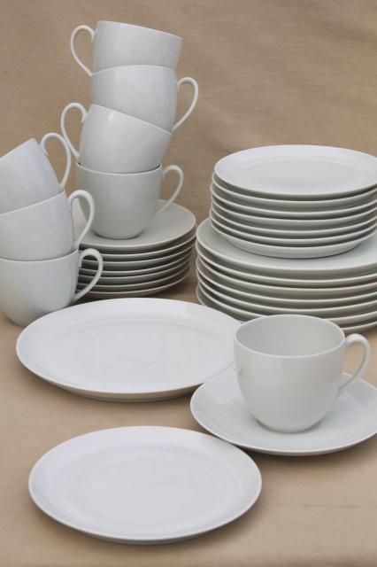 Minimalist Mod Schonwald Plain White Coupe China Dinnerware Mug