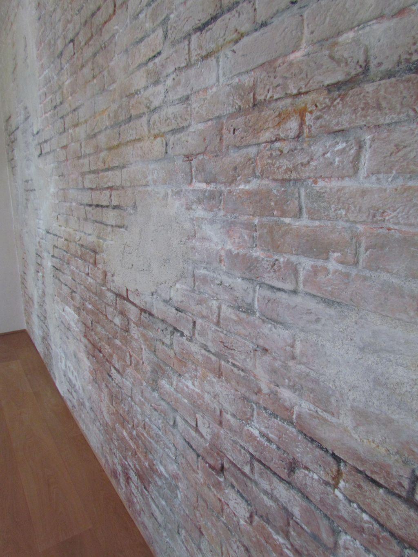 Ziegelwand Mit Putz Plastered Von Der Seite Klein Dachboden