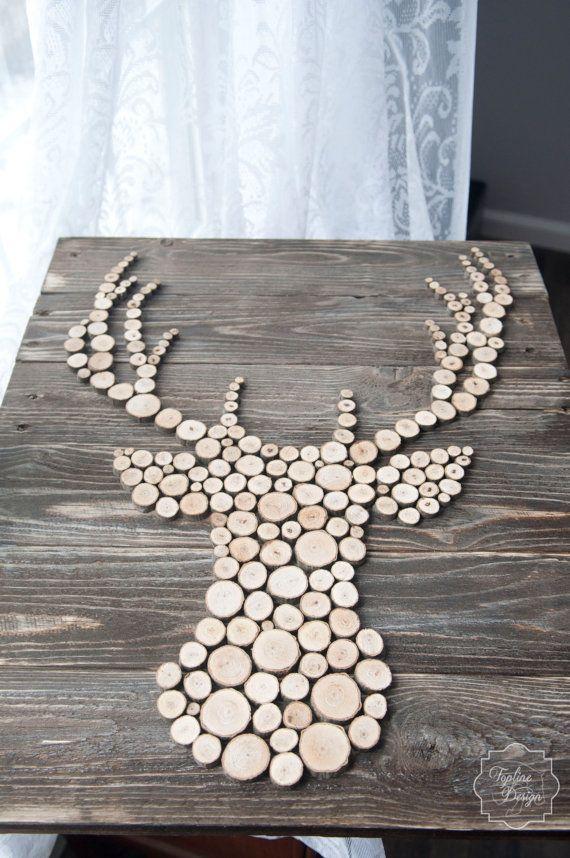 Wood sliced deer head silhouette wall decor holz deko for Hirschkopf aus holz