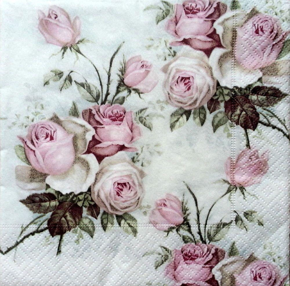 love design Vintage 4 Single paper decoupage napkins -658 roses SAGEN