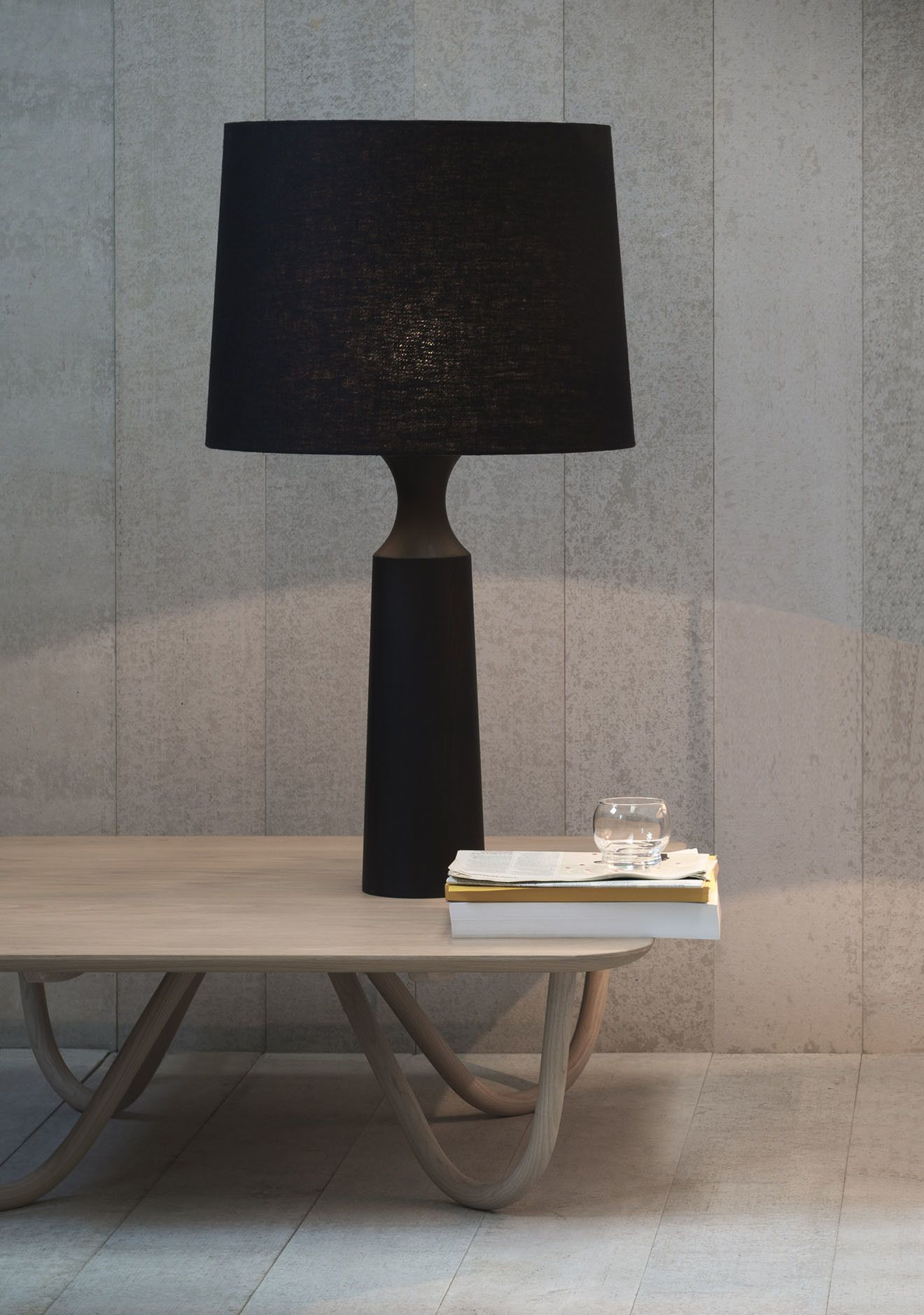 The Derome Is A Statuesque Table Lamp Available In Dark Stained Tulipwood With A Black Linen Shade Supplied With A Black Woven Flex A In 2020 Black Table Lamps Black Lamps