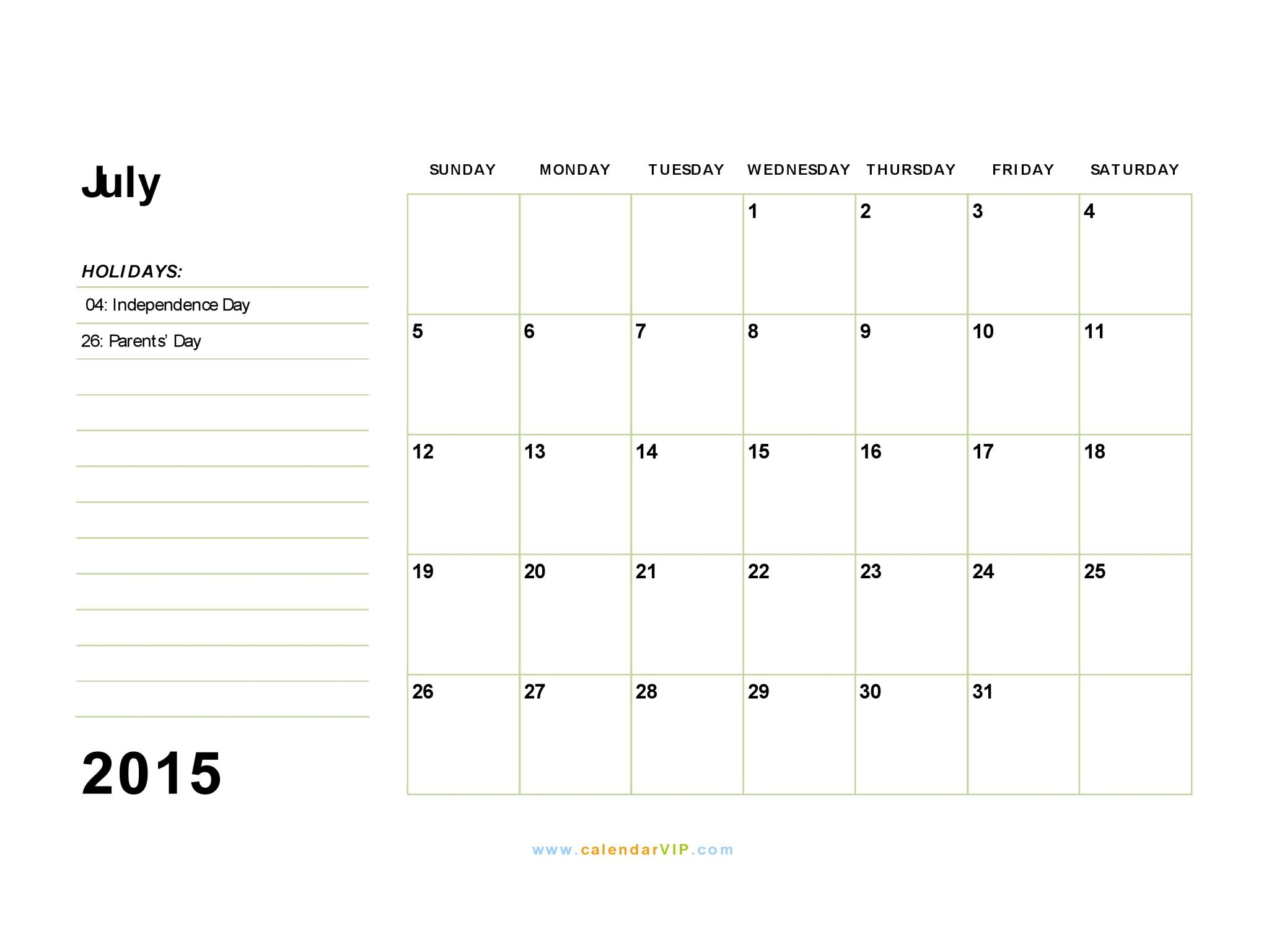 july 2015 calendar fillable free fillable and printable