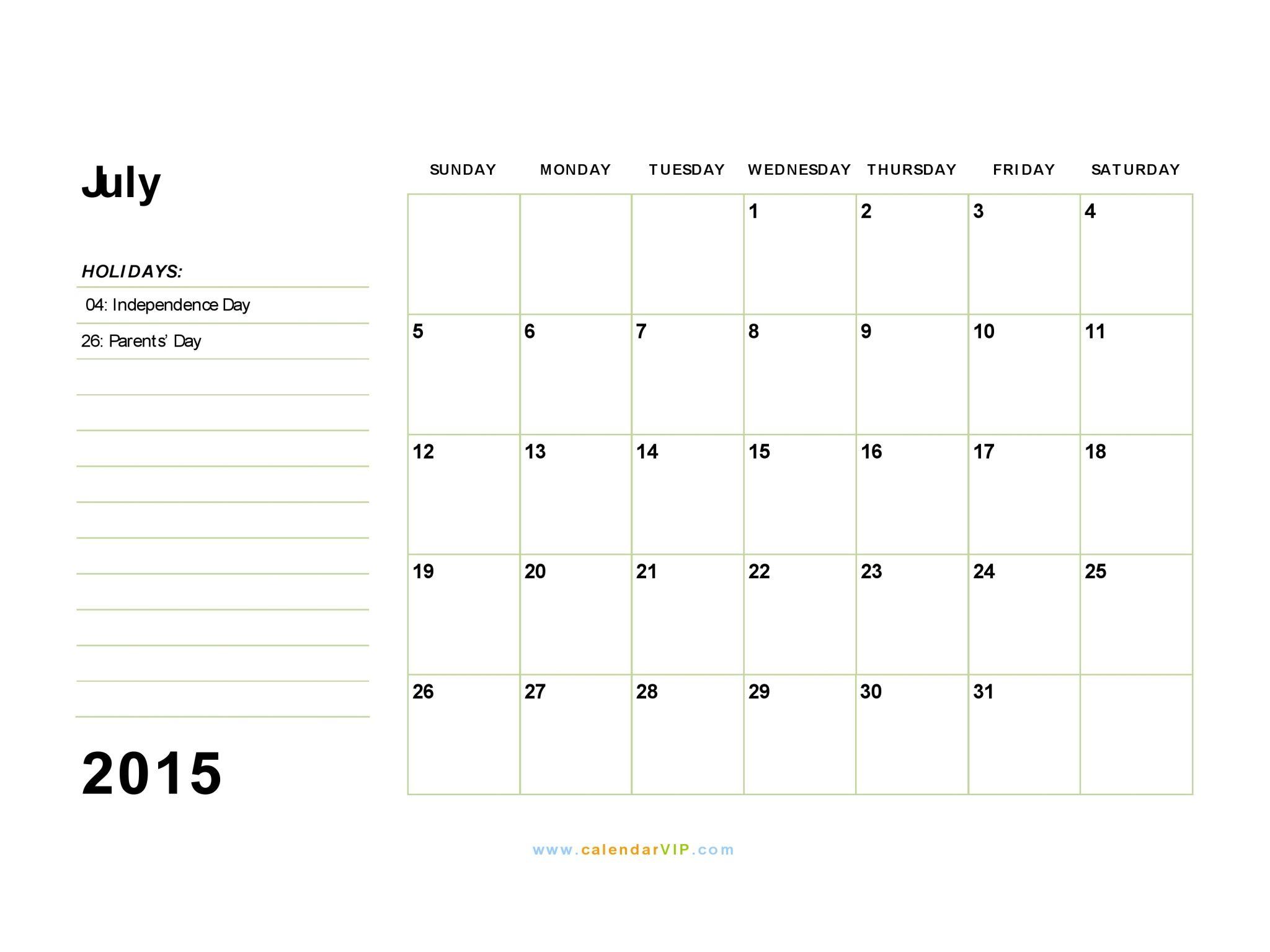 July 2015 Calendar Fillable Calendar Template 2015 Free Printable Calendar Small Business Blog 2015 Calendar Printable