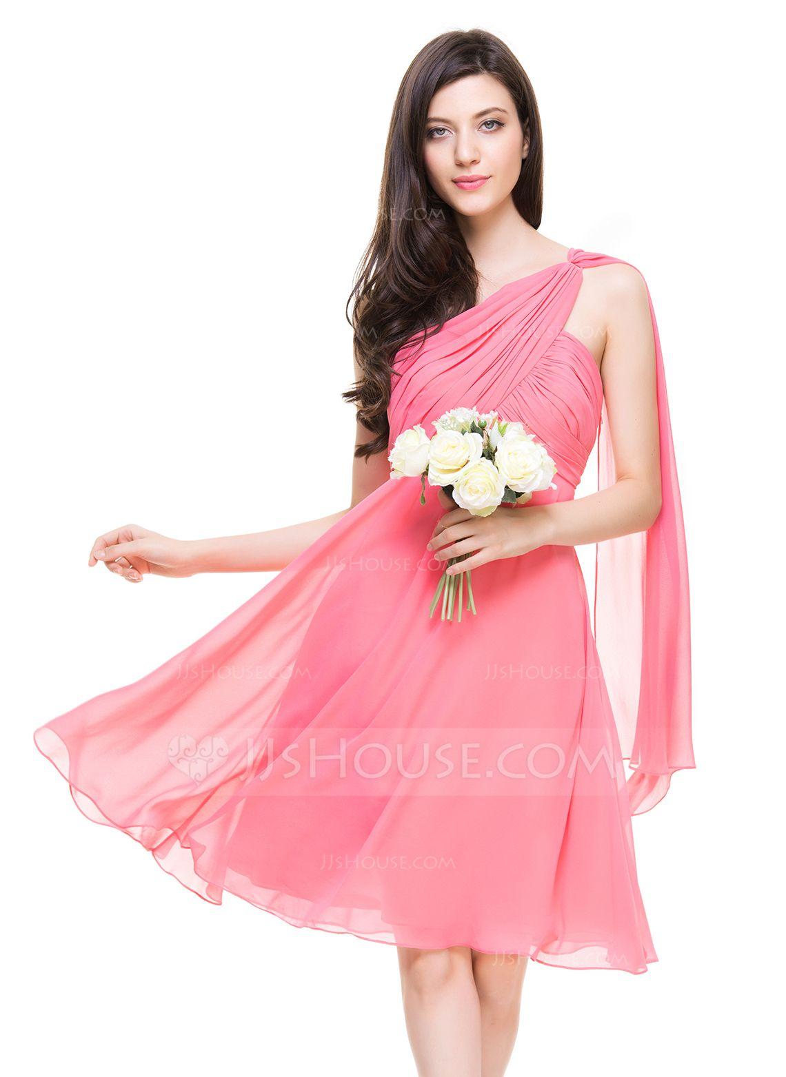 A-Line/Princess One-Shoulder Knee-Length Chiffon Bridesmaid Dress ...