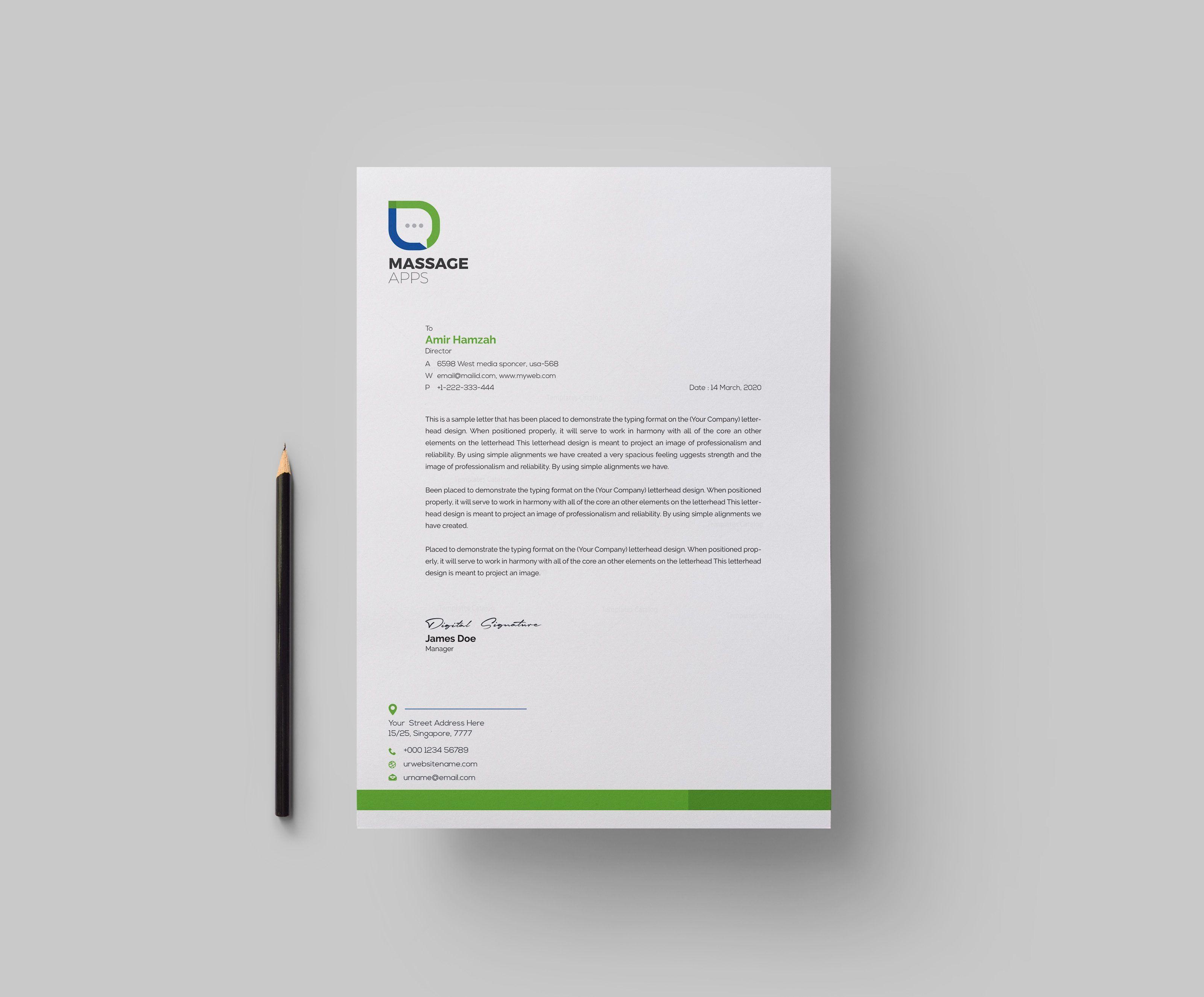Message Professional Corporate Letterhead Template Letterhead