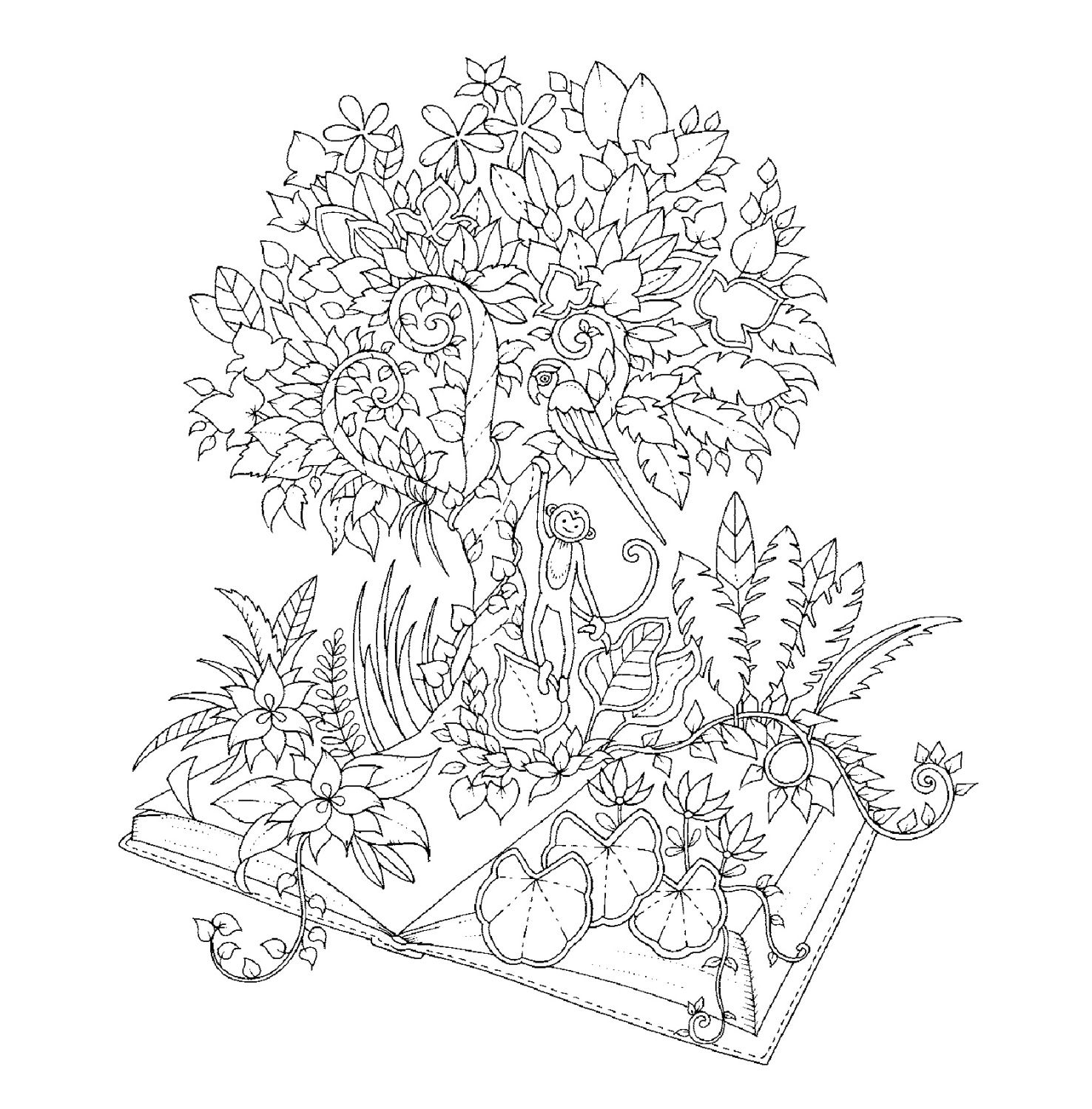 Johanna Basford Coloring Pages Magical Jungle Sketch Page