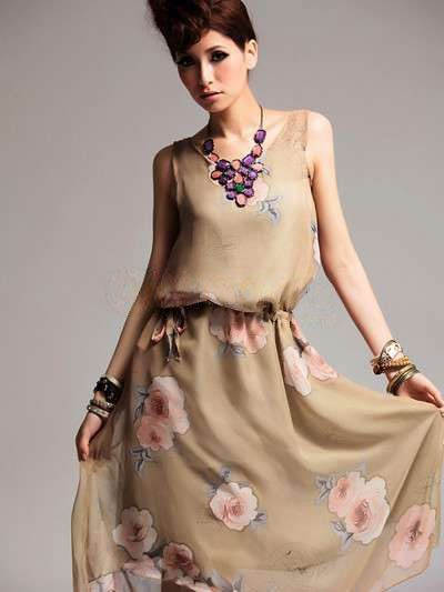 Elegant Apricot 100% Chiffon Sleeveless Floral Dress For Ladies - Womens Dresses - Womens Clothing
