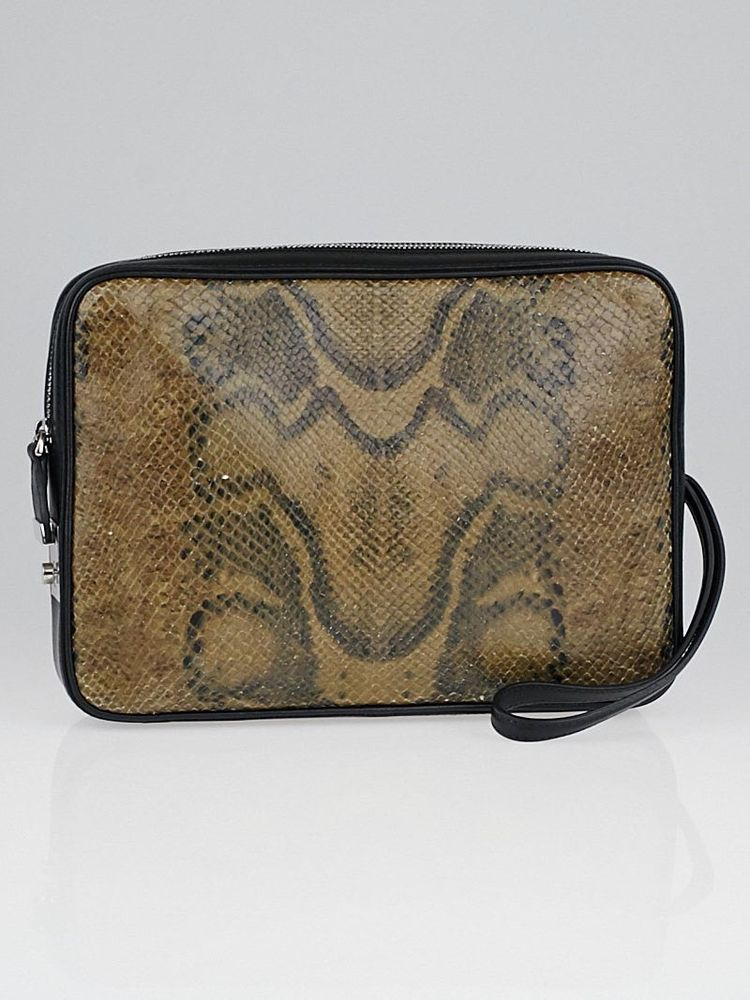 4a7bc03ac5 Celine Black Leather and Python Side Lock Dragonne Clutch Bag  Celine   Clutches eveningbags