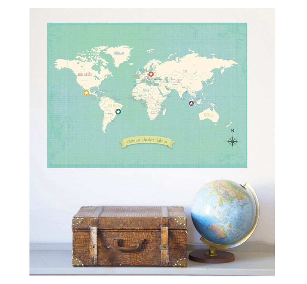 World map wall art my travels personalized world map print 18x24 world map wall art my travels personalized world map print 18x24 nursery wall art gumiabroncs Image collections