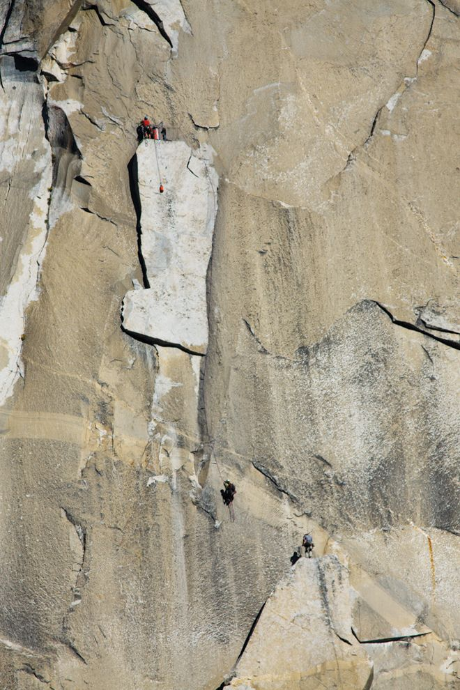 Belaying atop the Boot Flake, El-Capitan, Yosemite