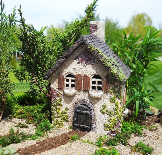 Fairy Garden Cottage With Ivy 6.5 Inches Tall, 4 Inches Wide, 3.5 Inches  Deep