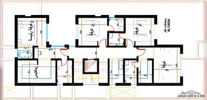 فيلا دورين وملحق علوي مساحة الارض 13x26 8 تصميم مكتب الخليل الرياض القصيم Floor Plans
