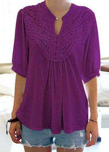 1fe3e7c7958 Half Sleeve Split Neck Purple Blouse