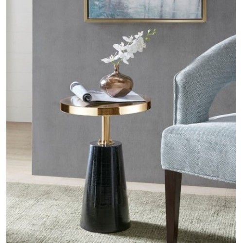 Round Gold Top Accent Table Black Cone Base is part of Home Accessories Black White Gold -