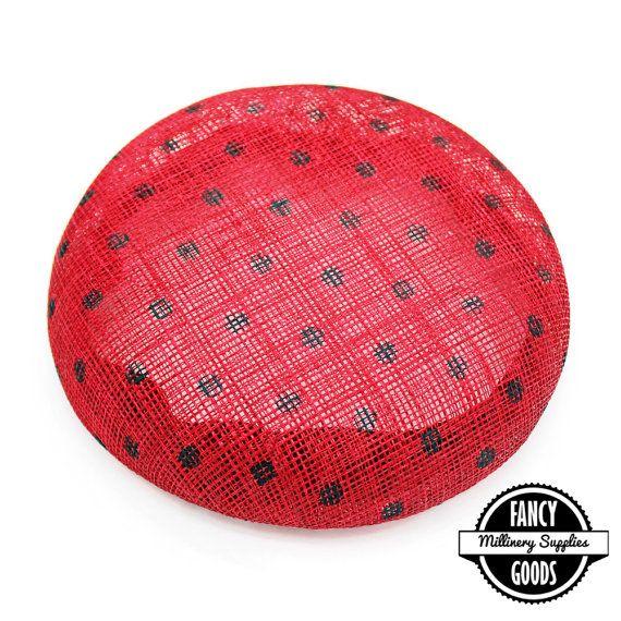 Rouge / noir à pois - Base de chapeau - paille Sinamay - tour Fascinator - Fondation chapeau - chapeau forme - chapellerie
