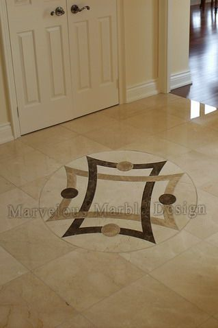 48 round water jet cut marble flooring medallions in for Marble floor design